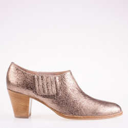 Bronze metallic leather bootie