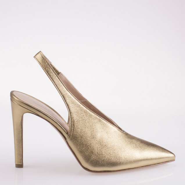 Pointy toe bronze slingback