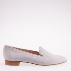 Light grey suede pointy toe slipper