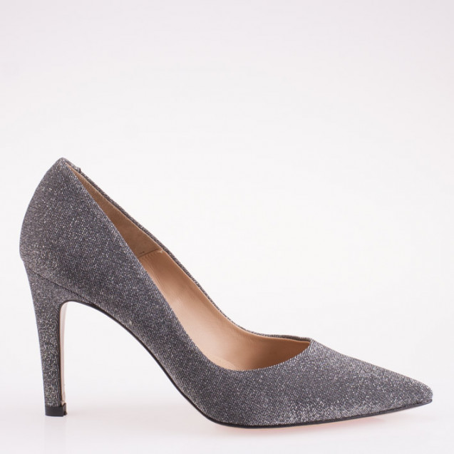 Pointy toe steel glitter fabric pump