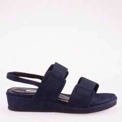 Blue suede sandal low wedge