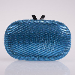 Turquoise satin and crystals clutch